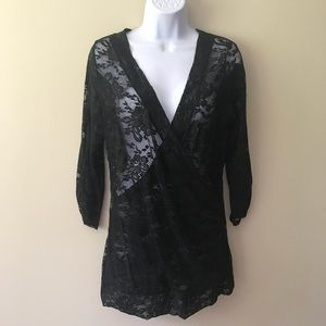 Vanity lace long sleeve top shirt large
